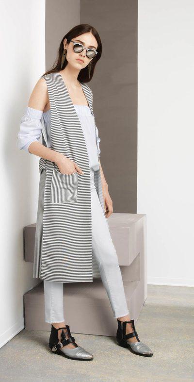 Gilet lungo bianco-grigio