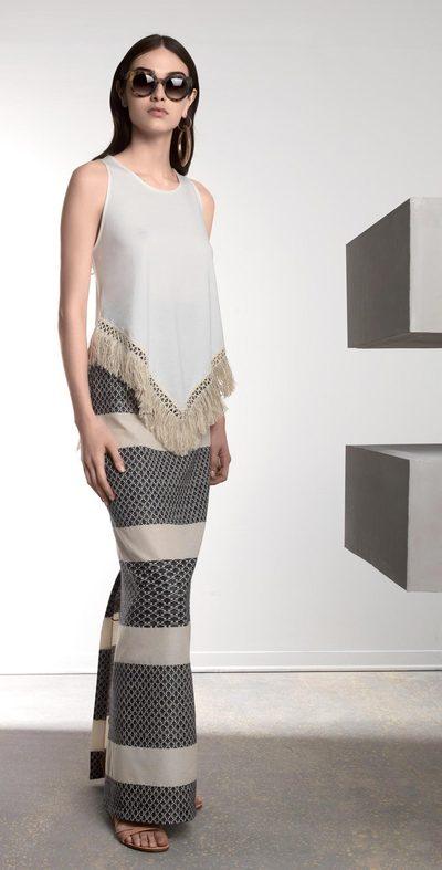 White-black long skirt