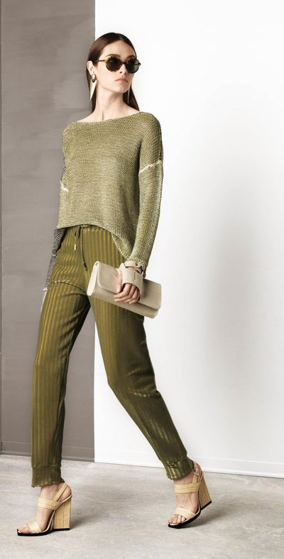 Perforated green sweater