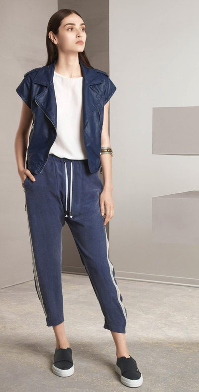 Blue pants with side stripes