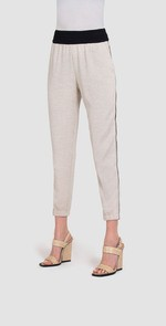 Beige pants with side stripes