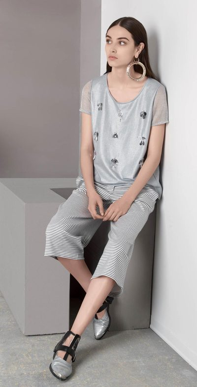 Panta gaucho a righe bianco-grigio