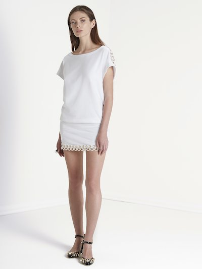 short sleeve dress with eyelets