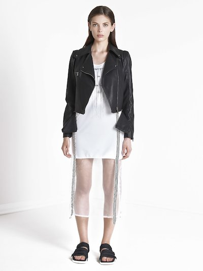 Leather effect coat with zip