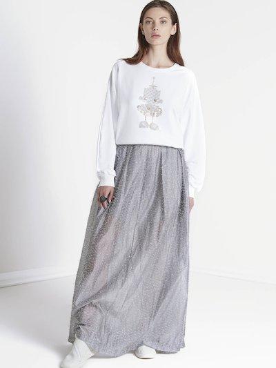 Long sleeve sweatshirt with  embroidered robot
