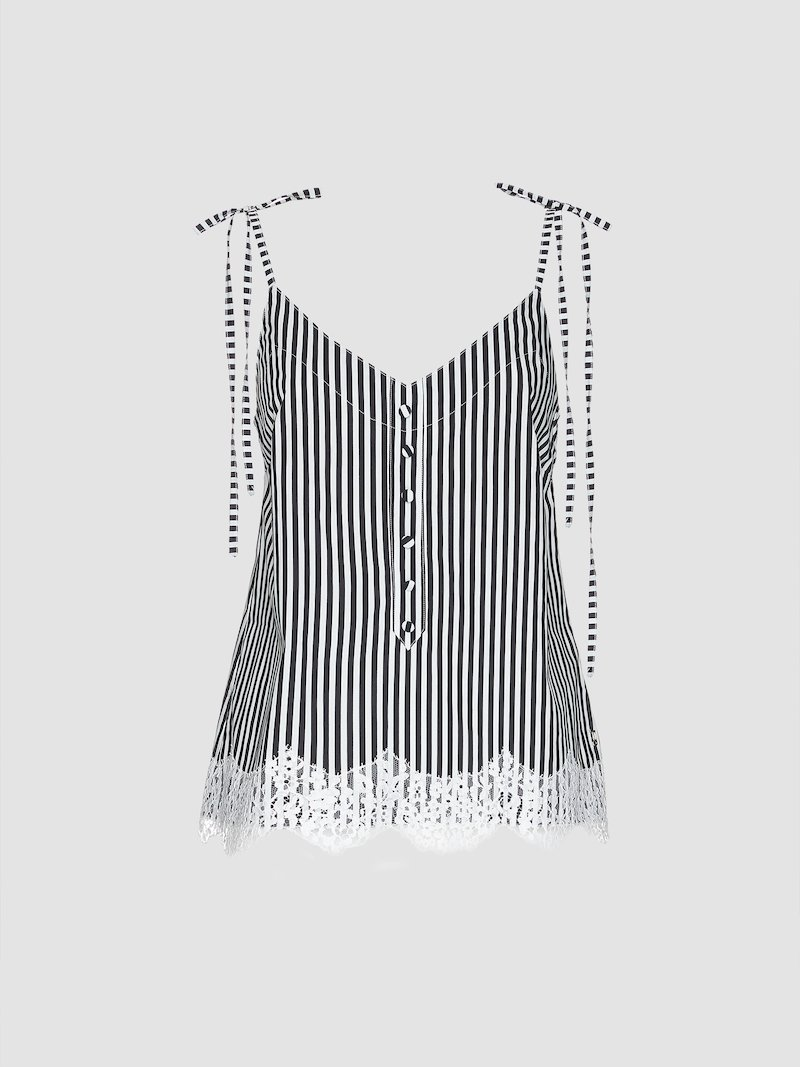 Striped vest with lace decoration on the lower part