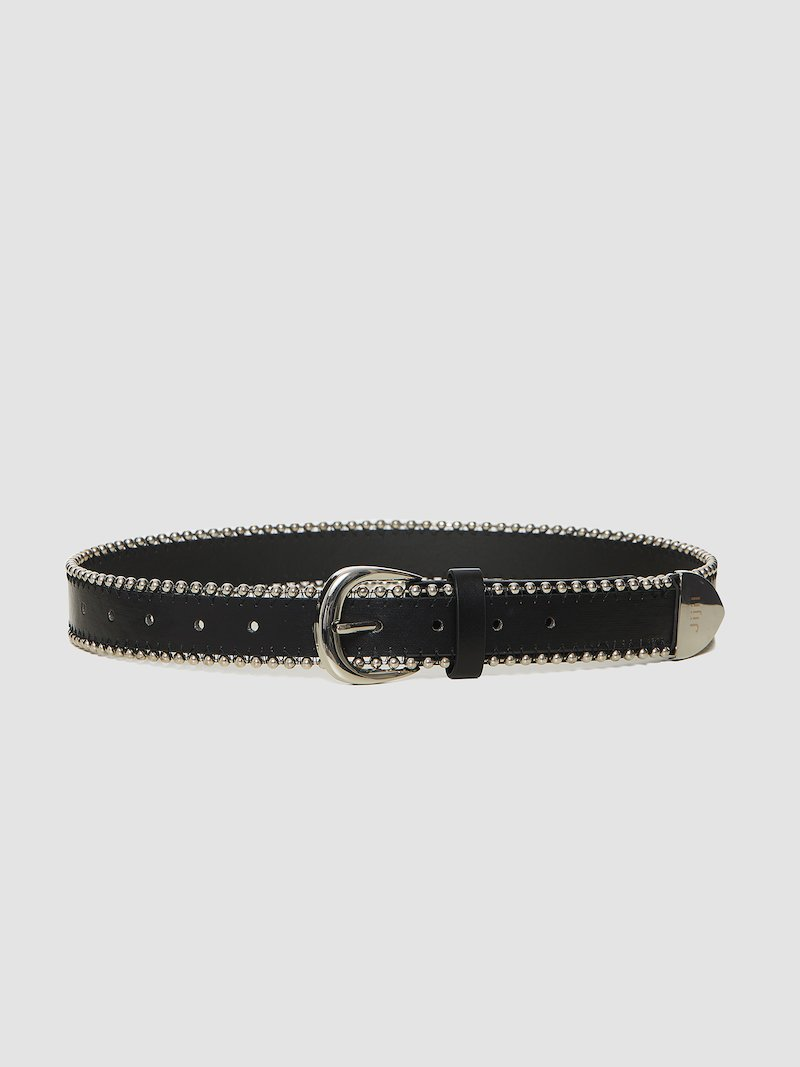 Belt with studs and metal buttonholes