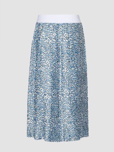 Pleated skirt with minimal print