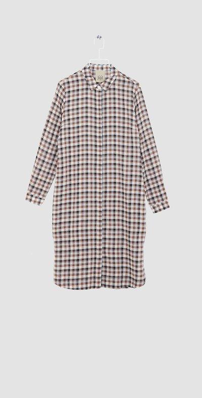 Checked hazel maxi-shirt