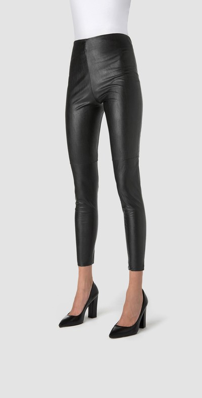 Black leggings-leather effect