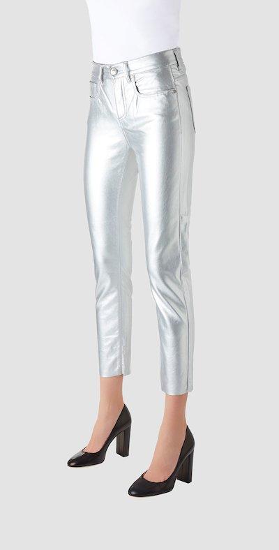 Pantaloni cinque tasche ecopelle