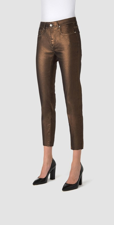Copper skinny jeans