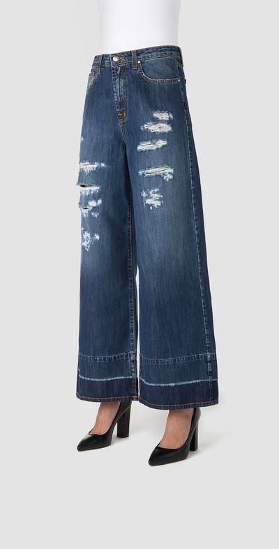 Denim wide-leg slacks