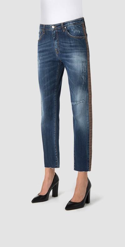 Jeans boyfriend con bande laterali