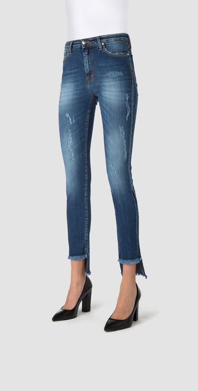 Fringed capri jeans