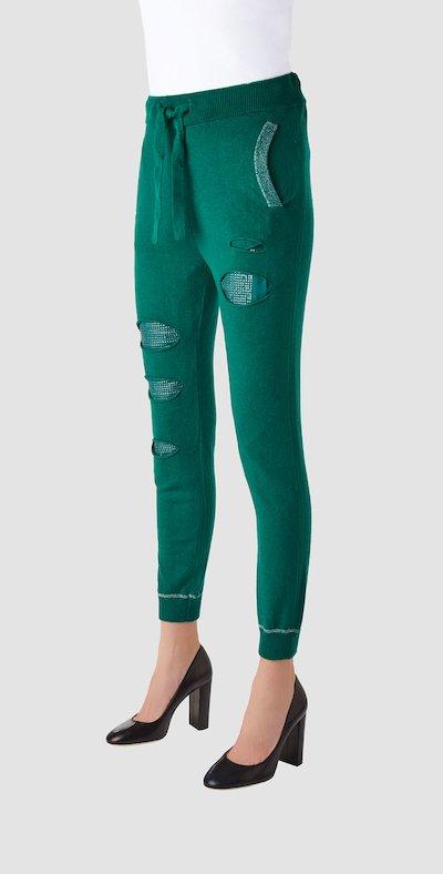 Pantaloni smeraldo in lana