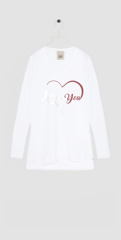 T-shirt bianca con stampa cuore