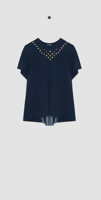 T-shirt blu/oro con plisse'