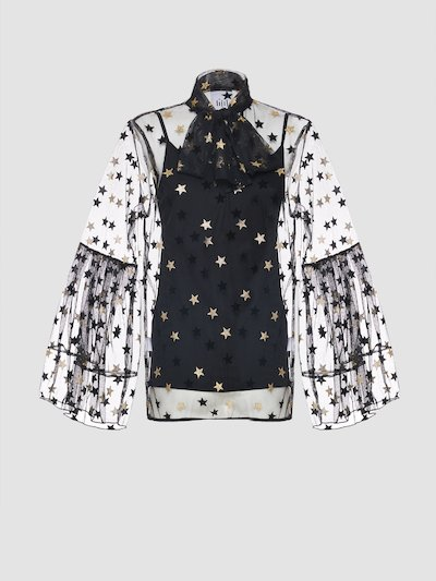 See-through blouse with stars