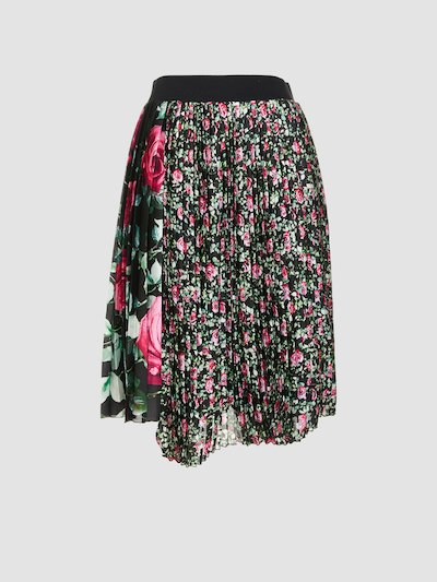 Pleated flower print skirt
