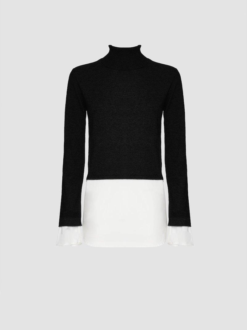 Double color turtleneck sweater