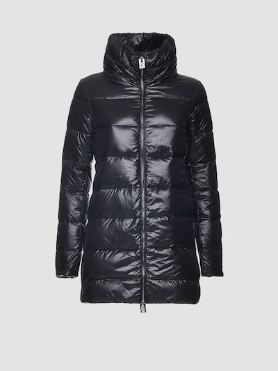 High collar quilted jacket