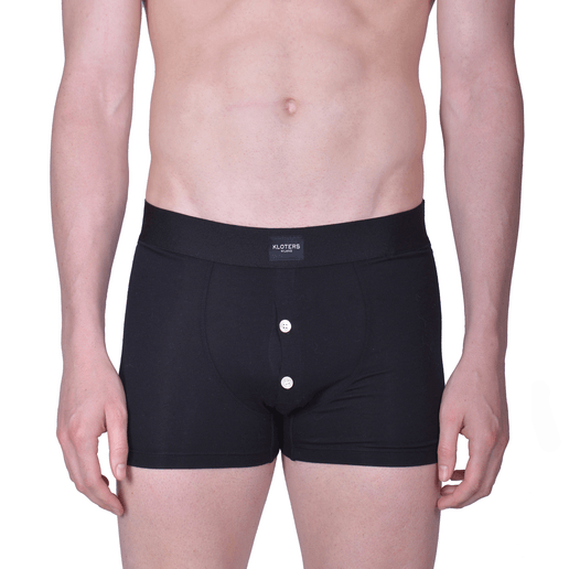 BLACK BOXER  BRIEFS WITH BUTTONS