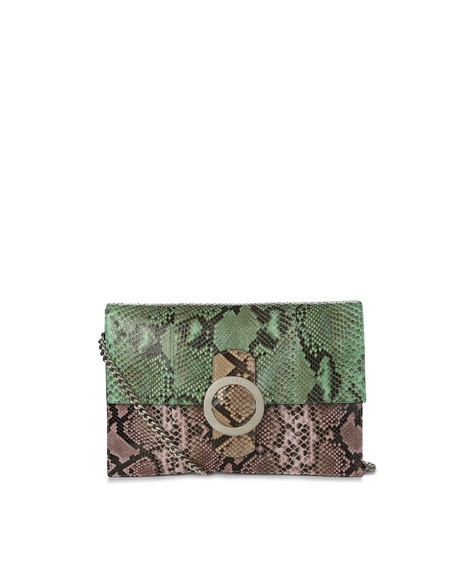 Orciani DIAMOND PYTHON LEATHER CLUTCH
