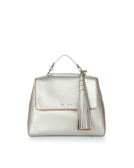 Orciani SILVER COLOR LEATHER SMALL SVEVA BAG WITH STRAP