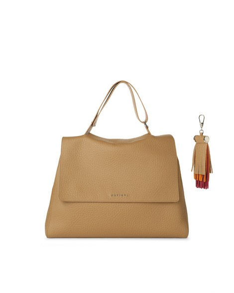 Orciani SOFT DOUBLE LEATHER SVEVA BAG WITH CHARM
