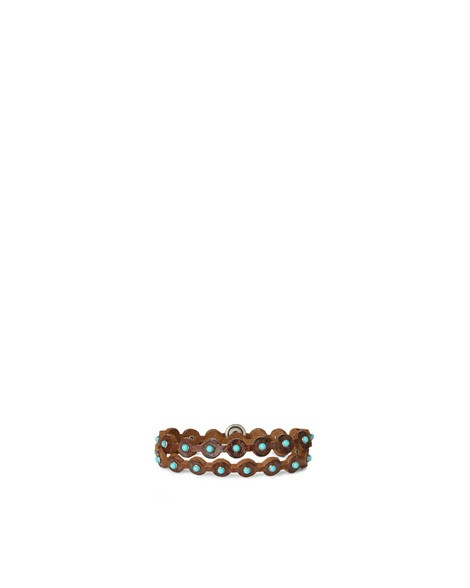 Orciani STAIN MICRO STUDDED LEATHER TWIN BRACELET
