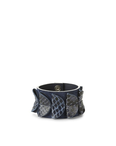 Orciani PRECIOUS PYTHON LEATHER AND SUEDE TALL BRACELET