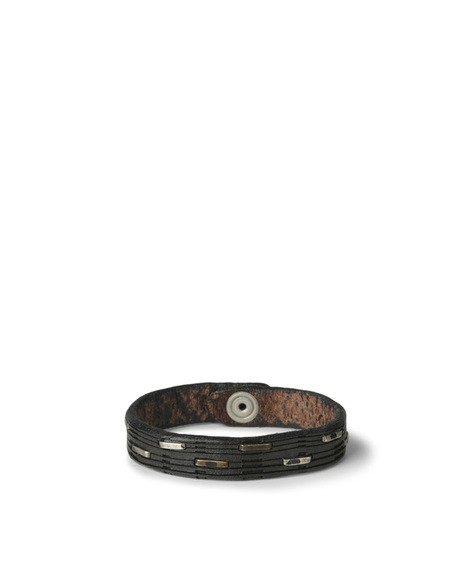 Orciani CLIP MICRO STUDDED LEATHER BRACELET