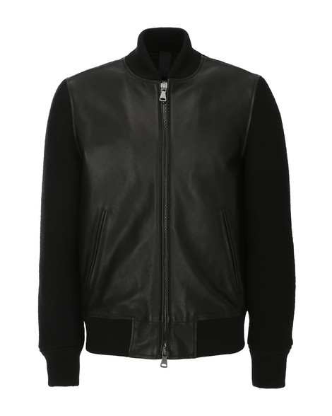 Orciani WOOL PLUNGE' LEATHER AND WOOL JACKET
