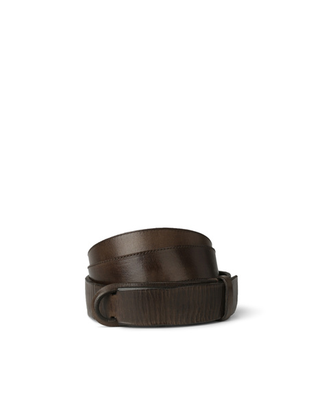 Orciani DIVE LEATHER NOBUCKLE BELT CUT EDGE H.35, LEATHER BACK SID
