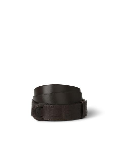 Orciani MATT TAIL CROCODILE NOBUCKLE BELT, CUT EDGE H.30, CALF LEATH