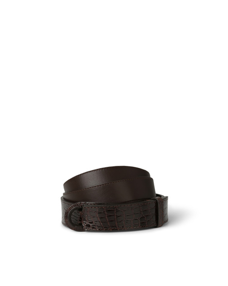 Orciani POLISHED SIDE CROCODILE NOBUCKLE BELT, CUT EDGE H.30, CALF L