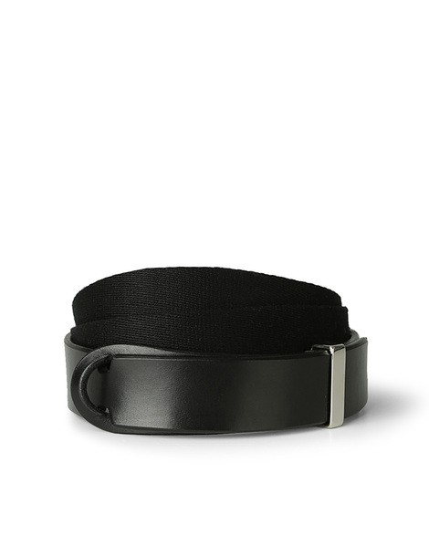 Orciani BULL LEATHER AND FABRIC BELT