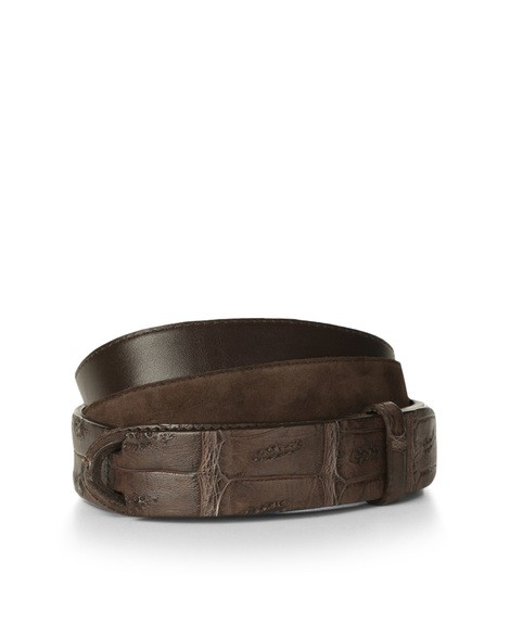 Orciani CAMOSCIO COCCO CROCODILE AND SUEDE NOBUCKLE BELT