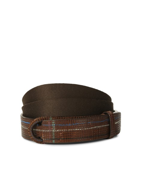 Orciani GALLES LEATHER AND FABRIC NOBUCKLE BELT