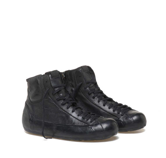Black leather low ankle boots