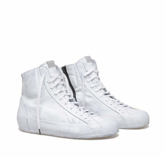 White leather low ankle boots