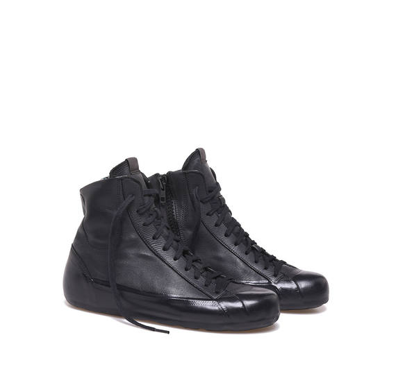 Black garment dyed low ankle boots