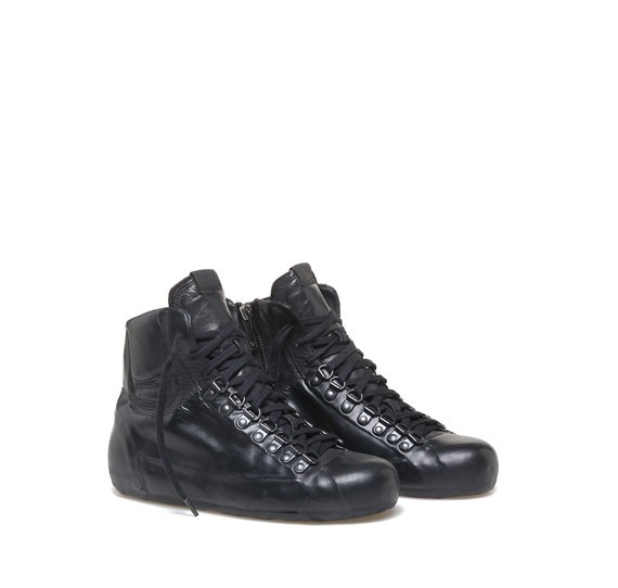Total black military-style low ankle boots