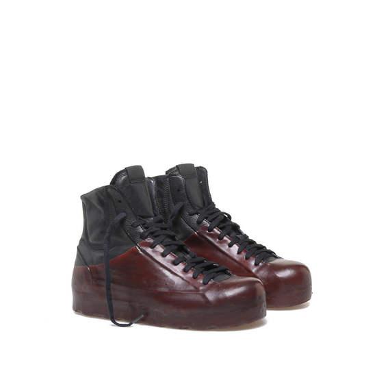 Black/burgundy platform ankle boots