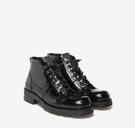 Frank<br />shiny black leather boots