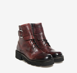 Burgundy leather combat boots with zip