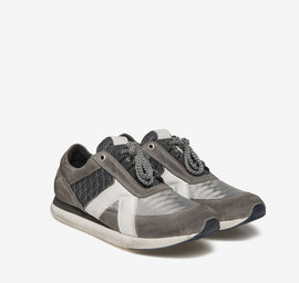 Grey fabric running shoes