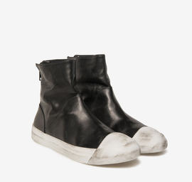 Stub leather zip ankle boots