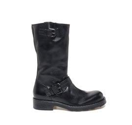 Kevin<br />Leather biker boots with two buckles